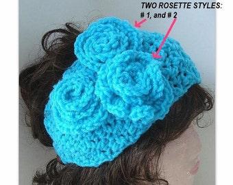 Pdf Crochet Pattern headband num 329- 3 Rosette, PEBBLE Stitch HEADBAND.buttons up..instant digital download