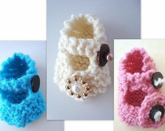 KNITTING Pattern Booties, num 339, or CROCHET Beginner level newborn to adult Mary Jane Booties... permission to sell your finished booties