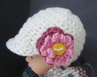 CROCHET PATTERN num 418, DANIKA Newsboy Hat, all sizes newborn to adult, permission to sell your hats