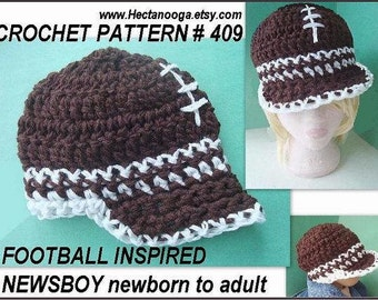 CROCHET PATTERN hat num 409, Football inspired Newsboy hat, newborn to adult, permission to sell finished items.