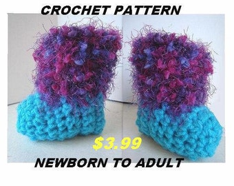 BABY BOOTIES, Adult boot slippers, crochet pattern newborn to adult,   num 439, High Top slippers, booties/slippers