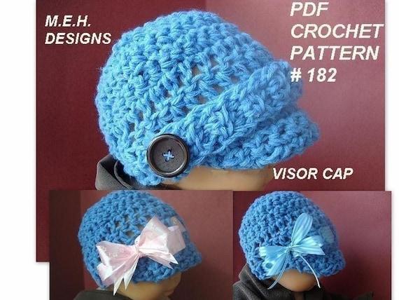 Crochet Pattern Numbers : CROCHET PATTERN number 182....NEWBORN TO AGE 5 VISOR CAP