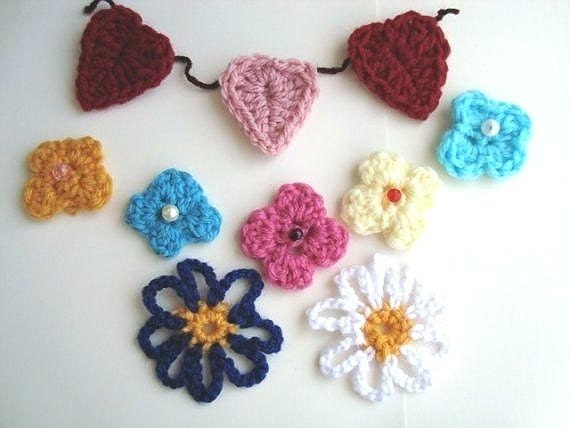 Appliques, heart, flowers, CROCHET PATTERN.number 56.....  3  Different Applique Patterns ...Over 400 patterns in my shop.