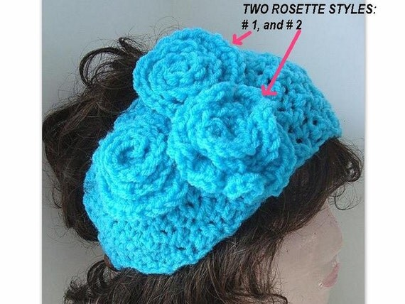 Pdf Crochet Pattern headband num 329- 3 Rosette, PEBBLE Stitch HEADBAND.buttons up..instant digital download