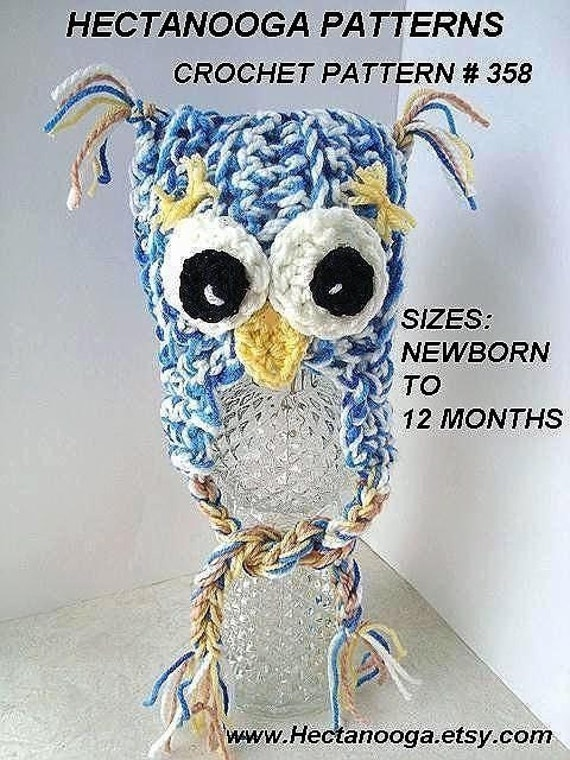CROCHET Pattern - SPECKLED OWL  Hat with eyebrows -  Newborn to Adult. #358 - Permission to sell your finished items.