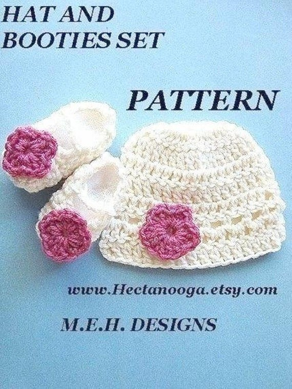 hat, booties, CROCHET PATTERN, number 165, , Hat and Booties set , You are my sunshine hat and booties set.  newborn to age 5