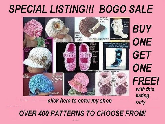 CROCHET PATTERNS, bogo sale, buy one get one free, only with this listing, Short and sweet sale