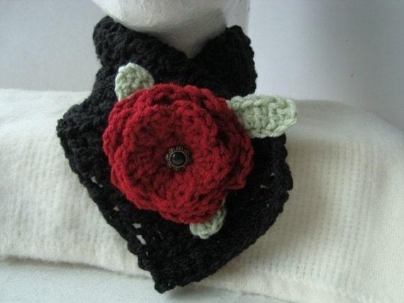 Crochet Rose Pattern No Sew : CROCHET PATTERN NO. 82 RED ROSE NECKWARMER CHOKER OR