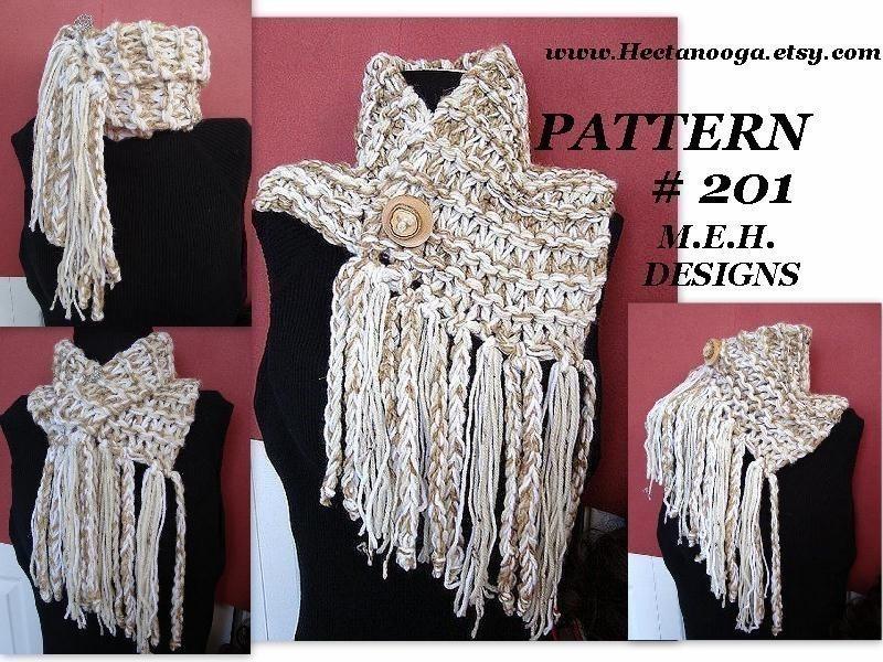 KNITTING PATTERN Jumbo Fringed Cowl num 201 Knitting for