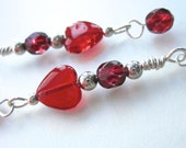 Extra Long Bohemian Earrings Poppy Red Hearts, Ruby Red Beads, Sterling Silver Dangles