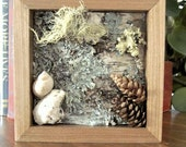 Maine Woods Rustic Diorama Shadow Box Natural Folk Art Woodland Home Decor - RoughMagicHolidays