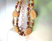 Rustic Autumn Necklace Carved Wooden Leaves Czech Glass Copper