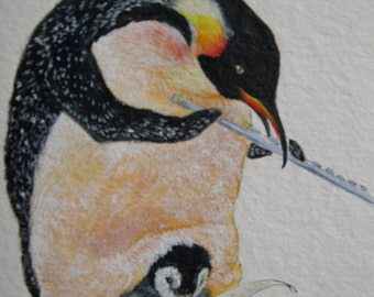Momma Penguin Playing the Flute