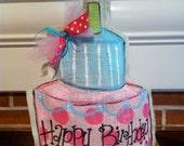 Birthday cake burlap