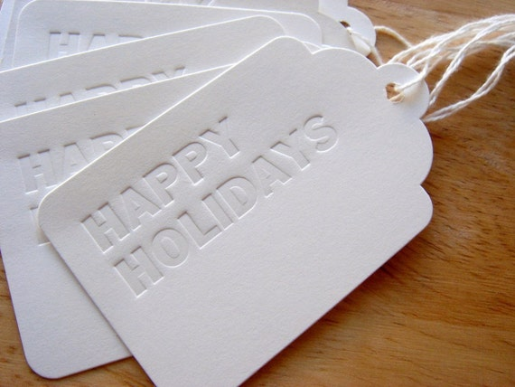 Happy Holidays Letterpress Gift Tags, Set of 6