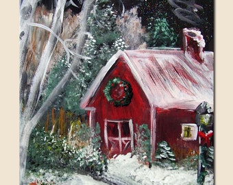 Extra Large Red Barn Painting