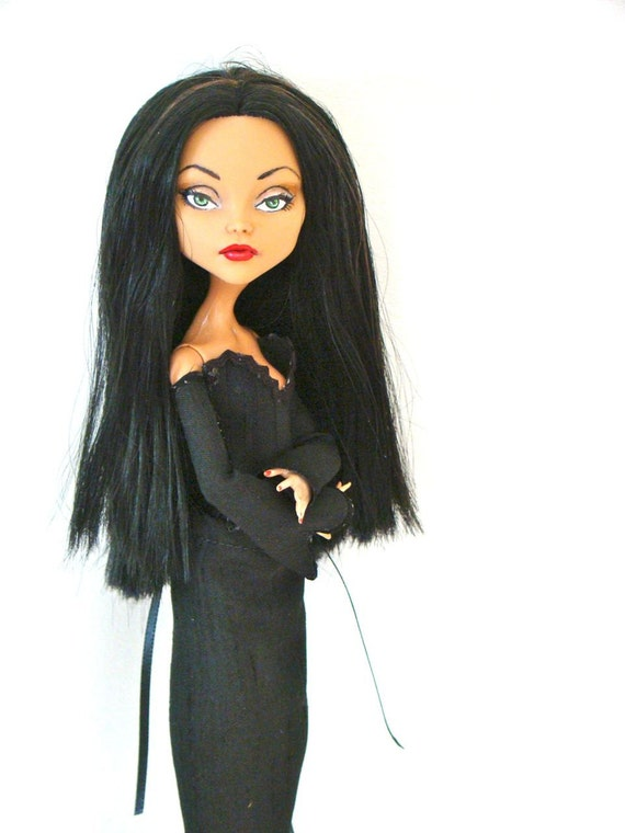 Morticia Addams - Monster High doll repaint - by Marina OOAK
