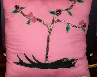 Blooming Pink Patchy Pillow Handmade Patchwork Springtime Flowering Tree Applique