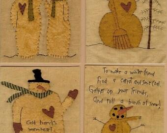 Snowman Stitchery Patterns Wool Applique Snowmen Pattern Folk Art OFG Team