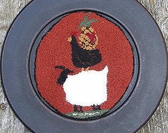 Primitive Pattern Needle Punch Folk Art Embroidery Pattern OFG Team Friendship Sheep Pineapple Chicken