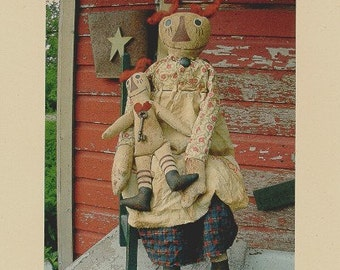 Primitive Doll Pattern Folk Art Raggedy And Baby OFG Team