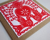Heart and Doves Card - Gocco Screen Printed