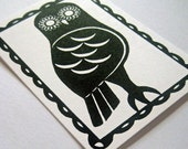 Owl ACEO -  Limited Edition - Gocco Screen Printed