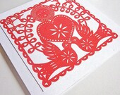 Wedding Card - Heart and Doves - Gocco Screen Printed