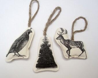 SALE set of three image ornaments