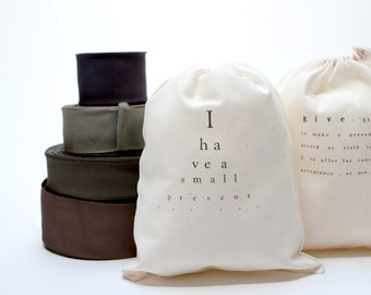 cotton bags with text