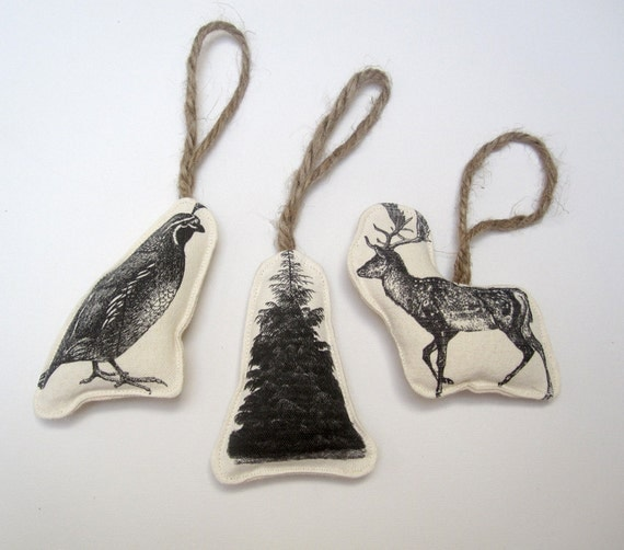 SALE set of three image ornaments