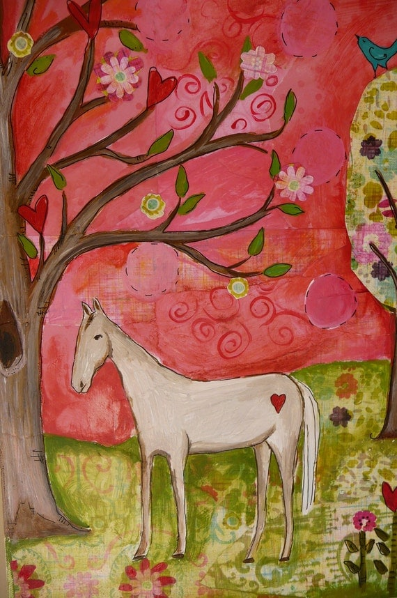 I Dream of Horses Original Mixed Media Pink