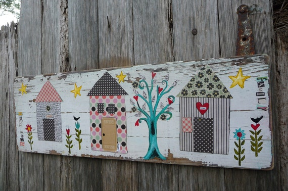 Home Town Original Mixed Media on a Repurposed Vintage Board Wall Decor