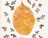 Honey Bee Hive No. 10 - Original watercolor painting