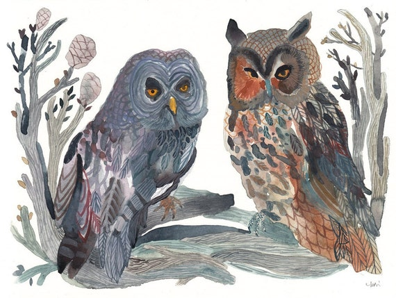 Grey Owl and Long Eared Owl- Original watercolor painting