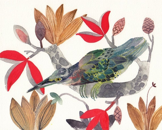 Green Heron and Magnolias - Archival Print