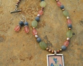 Artisan Handcrafted Morning Glory Pendant Beaded Gemstone Necklace