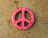 Pink Howlite Turquoise Peace Sign Pendant