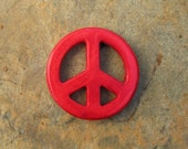 Red Howlite Turquoise Peace Sign Pendant