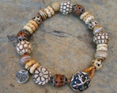 Artisan Handcrafted African Inspired Bone Wood Bronze Beaded Bracelet