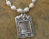 Sterling Pearl Picture Frame Photo Pendant Necklace