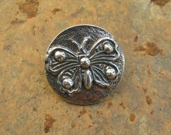 Sterling Silver Butterfly Button Clasp