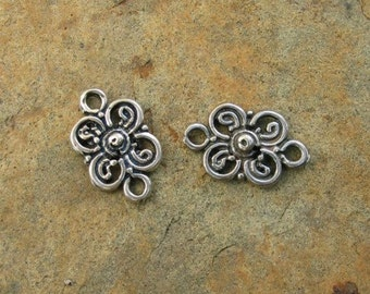 2 Sterling Silver Flower Link Connectors