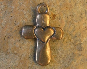 Cross with Heart Bronze Charm
