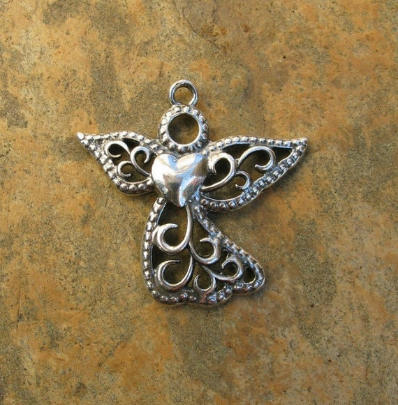 Sterling Silver Angel with Heart Pendant