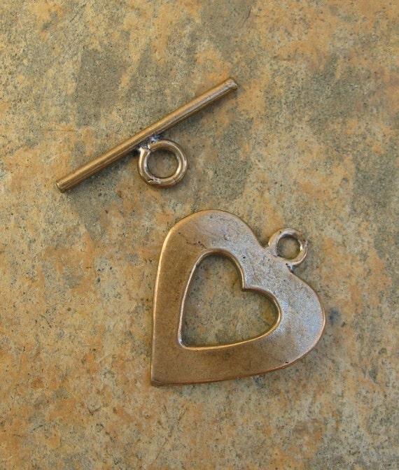 Bronze Heart Toggle Clasp