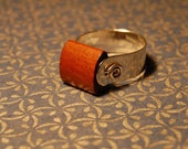 Tension and Kinetic Energy Ring in Sterling Silver and Wood, Unisex, Spinner Ring, Band