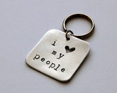 Pet Tag - I Love My People - Handmade Dog or Cat Tag, Heavy-Duty Aluminum, Metal, Hand stamped in Maine