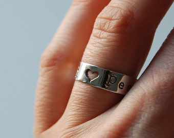Pee-Wee Herman Sterling Silver Ring with Heart. Paul Reubens Fan Jewelry. Pee-Wee's Big Adventure. I Love Pee-Wee Gift. Unique Rings.