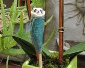 Art, Sculpture, Animal - Ceramic Plant Stake - Baby Animal Papoose House Plant Guardian - Planter Panda Bear - Next Day Shipping